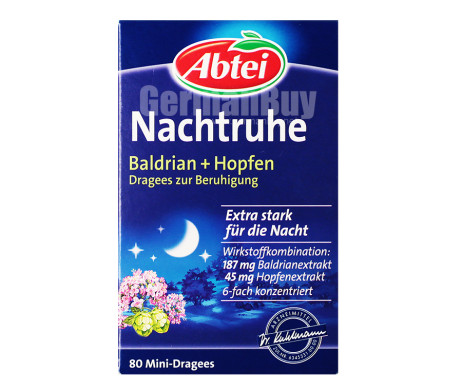 Abtei Night Rest Valerian + Hops (extra strong) dragees from Germany