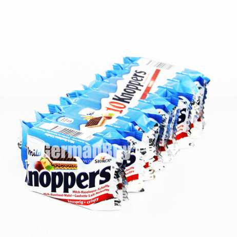 Storck Knoppers Original German Milk-Hazelnut Chocolate Wafer Snack - 10pcs
