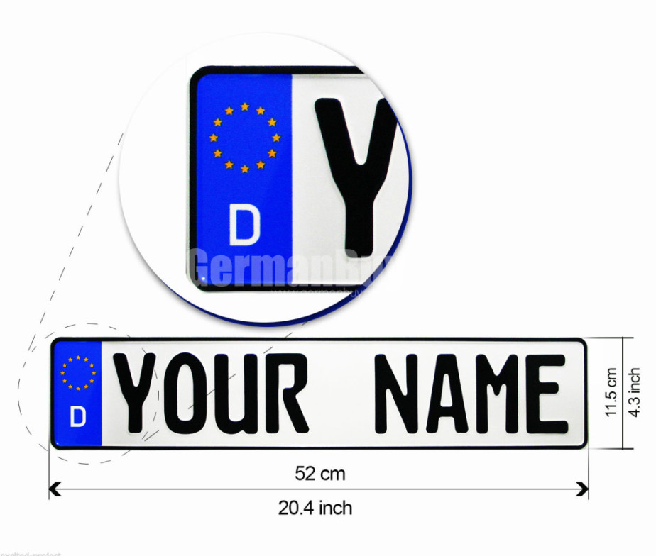 German License Plate Customized With YOUR NAME / TEXT