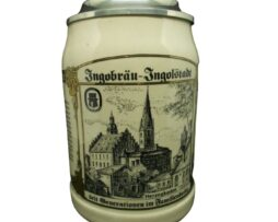 Brewery Ingobrau Ingolstadt Beer Stein With Pewter Lid Germany