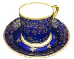 Cobalt Porcelain Mocha Cup + Saucer Fine China from GDR