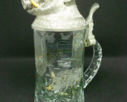Beer Stein Glass Hinged Pewter Lid with Wild Boar from Germany