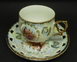 KMW ELLis LD. 1888 - Very Nice Cup + Saucer - Courting Couple in Rococo Style