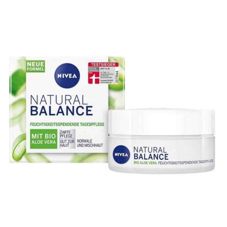 NIVEA Natural Balance Day Cream with organic aloe vera for moisturizing day care