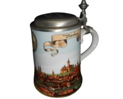 Old German Pewter Lidded Beer Stein City of Nurnberg