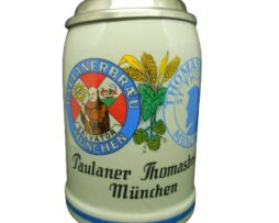 Paulaner Thomasbrau Munich Beer Stein with lid